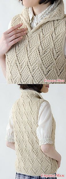 Interesting sleeveless jacket with 3D drawing. Spokes. - KNITTED FASHION + FOR NOT MODEL LADIES - the Country of Mothers