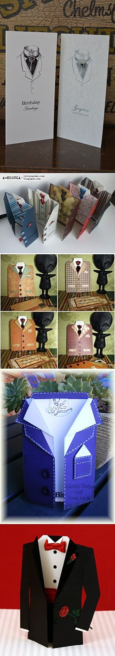 Man's skrap-gifts (cards, boxes) - in a view or with clothes elements (a jacket, a shirt, a tie, etc.)